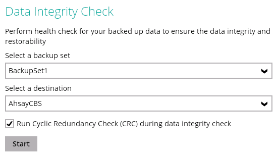 Ahsay data integrity check with CRC