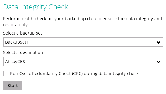 Ahsay data integrity check without CRC