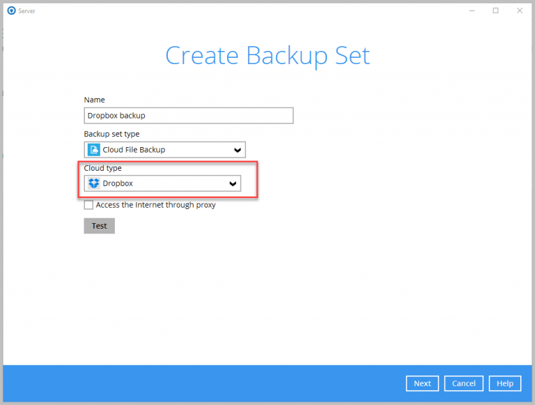 Create Backup Set