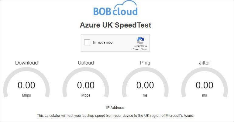 Azure UK speedtest for cloud backup