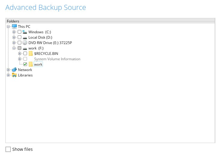 BOBcloud source backup selection