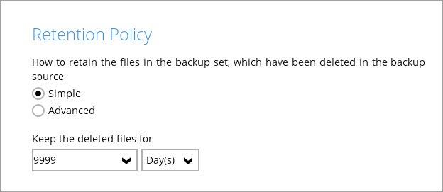 Cloud Backup Retention Settings