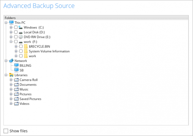 Cloud Backup NAS and USB disk destinations